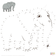elephant dot to dot free printable coloring pages
