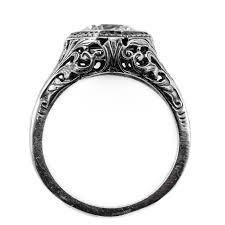art deco style garnet ring in 14k white gold