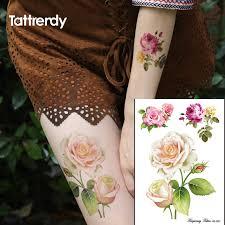 big small rose flower 3d flash temporary tattoos women u0027s diy