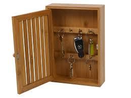 Key Storage Cabinet Bamboo Wall Mounted Key Box Brackets Cupboard Hooks Holder