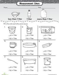 measuring volume how much liquid can it hold worksheets