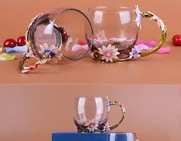 porte cuill鑽e de cuisine couleur émail tasse à café en verre fleurs de thé tasse avec