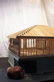 hand build architectural wood framework model house wood frame house model
