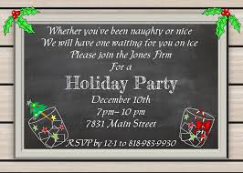 holiday christmas party invitations chalkboard woodgrain cocktail