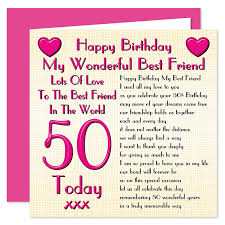 50th Birthday Cards For Best Friend 50th Happy Birthday Card Lots Of Love To The Best