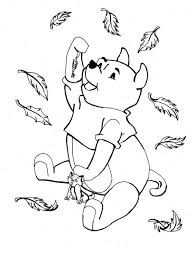 disney winnie pooh catching autumn leaves coloring