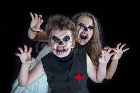 Zombie Bride Groom Halloween Costumes Groom Bride Zombie Children Put Halloween Stock