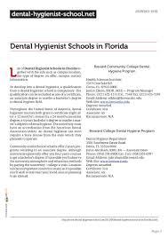 sample dental hygiene resumes dental hygienist schools in florida