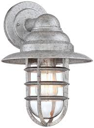 Galvanized Outdoor Light Fixtures Marlowe Galvanized 13 1 4 H Hooded Cage Outdoor Wall Light