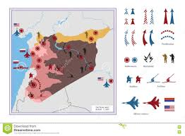 Syria Battle Map by Military Tactical Map With Icons The Conflict In Syria Stock