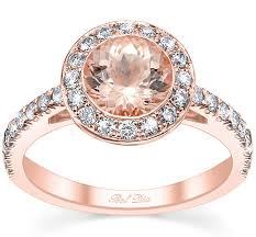 halo wedding rings images Morganite rose gold bezel style halo wedding ring jpg
