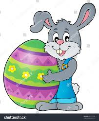 big easter bunny bunny holding big easter egg theme stock vector 557110288