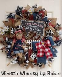 Primitive Holiday Decor Farmhouse Jute Mesh Wreath With Primitive Cow Doll Front Door