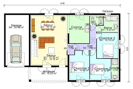 plan de maison plain pied 3 chambres modèle de plan de maison plain pied avec 3 chambres et garage 2