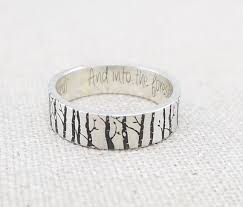 personalized silver gifts personalized silver ring wedding band forest jewelry