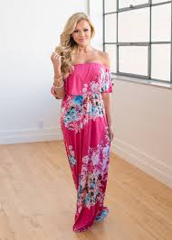 online women s boutique hot pink floral the shoulder maxi boutique online boutique