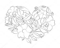 coloring page flower heart coloring page with details isolated on