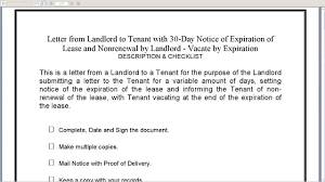 landlord to tenant 30 day notice of expiration of lease and