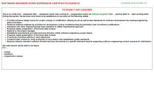 Software Engineering Manager Resume Software Engineer Work Experience Certificate