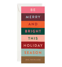 merry stripes pink personalized greetings by rifle paper co