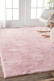 Nursery Room Area Rugs Faux Sheepskin Cloud Solid Soft And Plush Pink Shag Area Rugs 3