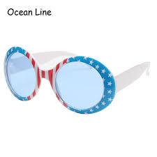 Flag Sunglasses 2018 America Flag Independence Day Round Glasses Costume Novelty