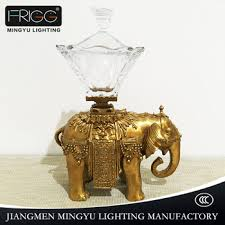 antique glass brass elephant decoration with gold color for hotel