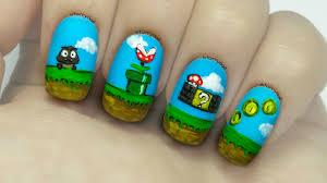 super mario bros freehand nail art youtube