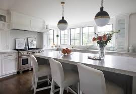 White Island Light Light Gray Upholstered Barstools With White Island Transitional