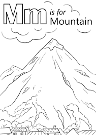 letter m is for mountain coloring page free printable coloring