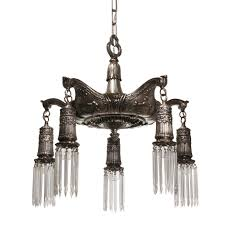 antique neoclassical adam style chandelier with hand pulled prisms