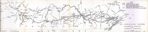 Pennsylvania Highway Map by Pennsylvania Turnpike 1948