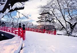 winter japanese garden winter snow river trees bridge high