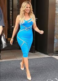 photos khloe kardashian dazzles in blue cut out dress