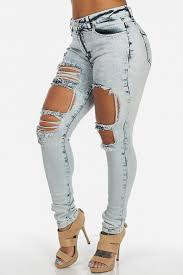 Skinny Jeans With Holes Stylish Mid Waist Broken Holes Blue Denim Skinny