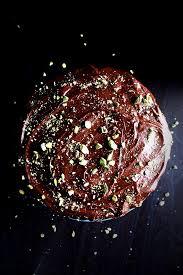 chocolate orange cake with pistachio mascarpone filling and