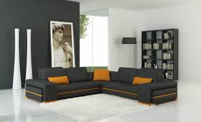 casa 5070c modern grey and orange leather sectional sofa