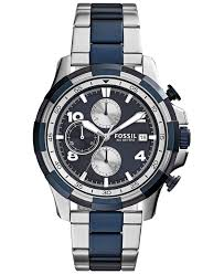 mens stainless steel bracelet watches images Lyst fossil men 39 s chronograph dean two tone stainless steel jpeg