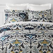 Organic Queen Duvet Cover Jahari Ikat Printed Organic Bedding Williams Sonoma