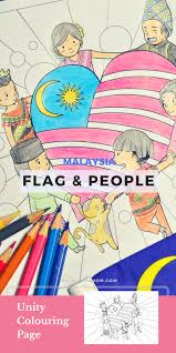 Flag People Patriotic Colouring Page Malaysia Perfect For National