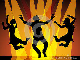 jumping disco indicates celebration and stock