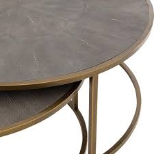 shagreen round coffee table massey modern regency antique brass shagreen round nesting coffee table