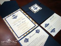 wedding invitations navy navy blue and bronze gold wedding invitation pocketfold style