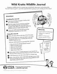 wild kratts wildlife journal worksheet education com
