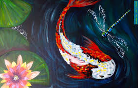 paintings to paint how to paint koi fish fly and waterlilies easy beginner