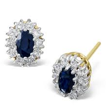 diamond earrings uk sapphire 5mm x 3mm and diamond 18k yellow gold earrings item feg26 u