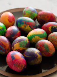 easter eggs painterly dyed easter eggs spoon fork bacon