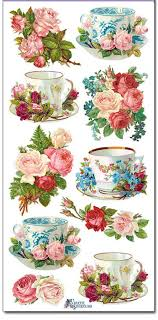 roses teacups stickers teacups roses decoupage collage mixed media