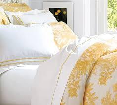 French Toile Bedding Matine Toile Duvet Cover U0026 Sham Marigold Yellow Pottery Barn