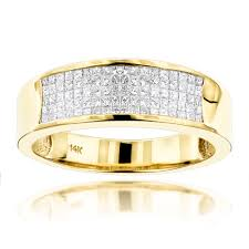 mens gold wedding band 14k gold princess cut diamond mens wedding ring 1 50ct